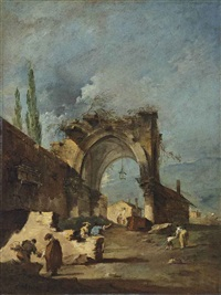 a capriccio of ruined buildings, with cypresses and figures by an arch by francesco guardi