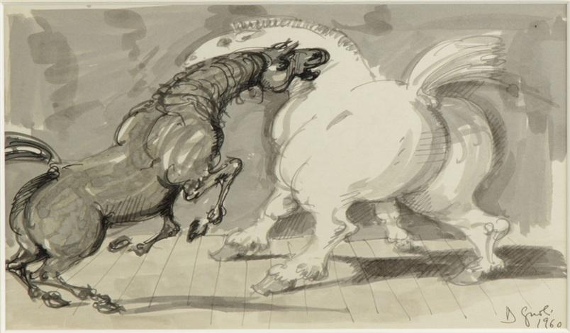 two horses by domenico gnoli