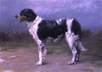 gun dog in a landscape by william frank calderon