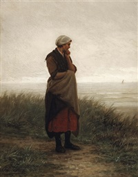 awaiting the return by philip lodewijk jacob frederik sadée