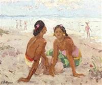 soir sur la plage de sanur by adrien jean le mayeur de merprés