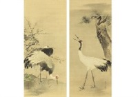 pine, bamboo and plum and crane(a pair) by hogai kano