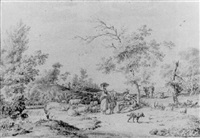 herdsmen by a stream in a wooded landscape by jordanus hoorn