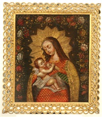 madonna and child by peruvian school-cuzco