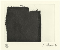 2 sheets: 5 and 7 (2 works from videy afangar series) by richard serra