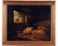 young boy feeding pigs by george morland