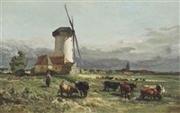 cows in a meadow by adrien joseph heymans and johannes hubertus leonardus de haas