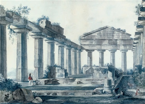 a ruined temple with a traveller in the foreground by arturo duclos