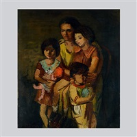mother with children by moses soyer