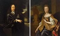 bildnis eines herrn (+ bildnis einer dame; pair) by pieter van der werff
