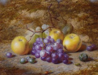 grapes, apples, and a plum, on a mossy bank by charles archer