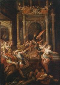 szene aus dem trojanischen krieg: der tod des königs priamos by andrea celesti