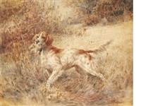 setter with bird by edmund henry osthaus