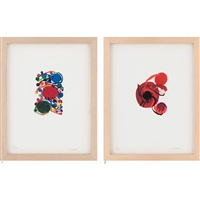 1. blue, red and green circles with small circles, 2. four red circles (2 works) by atsuko tanaka