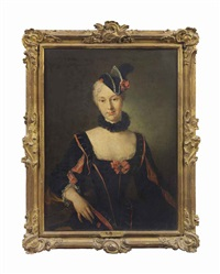 portrait of a lady, half-length, in a black and red dress with slashed sleeves, wearing a plumed headdress by jean-baptiste santerre