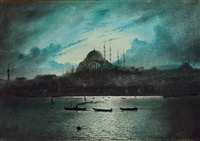moonlight over hagia sophia in constantinople by a. azarian