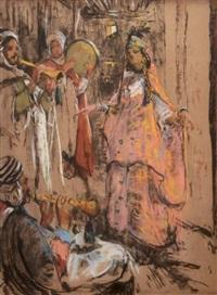 danseuse et musiciens by adrien jean le mayeur de merprés