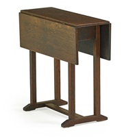 rare shoe-foot drop-leaf table by gustav stickley