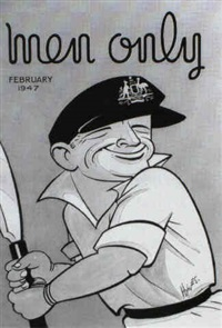 don bradman: front cover illustration for men only by edward s. hynes
