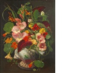 still life with flowers in a shell shaped vase (+ another; 2 works) by john e. nicholls