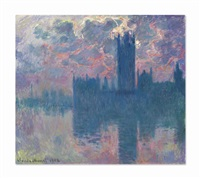 le parlement, soleil couchant (the houses of parliament, at sunset) by claude monet