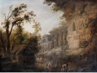capriccio of ruins with figures washing clothes at a river in the foreground by hubert robert