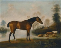 mr ogilvie's bay racehorse on a riverbank, with a group of cows in the middle distance by george stubbs