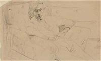 portrait of robert colquhoun in an armchair by robert macbryde