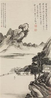 山中幽居 (landscape) by zhang feng