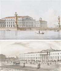 vue de l'île vassilievski à saint pétersbourg (+ vue de l'ancienne église hollandaise sur la perspective nevsky, pen and ink and wash; 2 works) by giacomo quarenghi