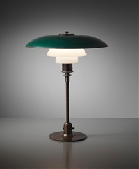 early and rare table lamp, type 4/3 shades by poul henningsen