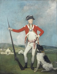 portrait of a gentleman, full-length, in red uniform, standing before an army encampment, a hound at his feet by johann joseph zoffany