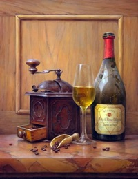 still life of coffee grinder, wine glass and bottle of cotes-du-rhone on a marble ledge by toth gabor