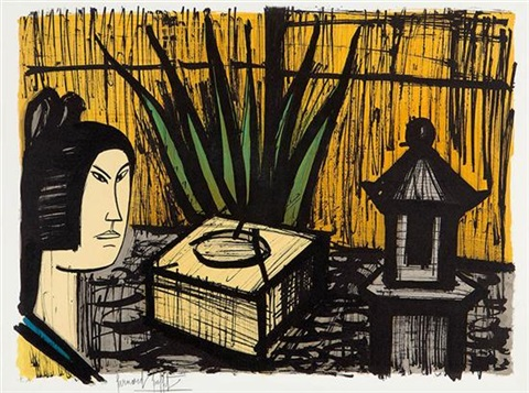 interior scene and figure by bernard buffet