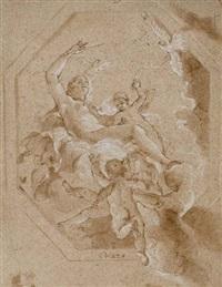 vénus entourée de putti et de colombes dans les nuées (+ etude d'homme nu vu à mi-corps, verso) by giovanni battista crosato