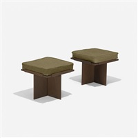 usonian stools from the randall fawcett house, pair by frank lloyd wright