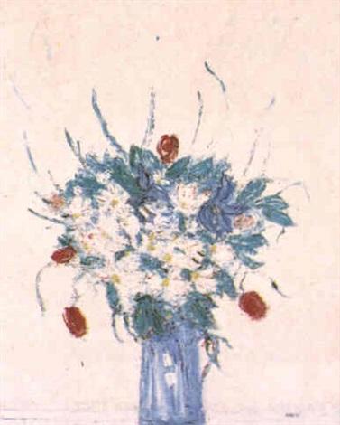vase de fleurs des champs et tulipes rouges by maly