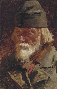 portrait of old peasant by nikolai alexeievich kasatkin