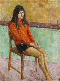 seated girl in orange by frederick stonham