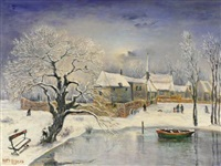 paysage de neige à l'étang by jean raffy le persan