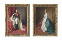 portrait of the emperor napoleon iii (+ portrait of his wife the empress eugenie; 2 works) (collab. w/studio) by franz xaver winterhalter