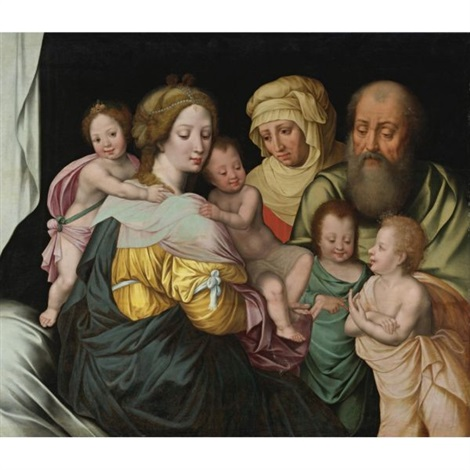 the madonna and child with saints elizabeth and other members of the holy family, the holy kinship by vincent sellaer