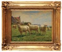 moutons aux pâturages by léon barillot