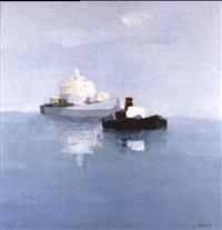 navire et remorqueur dans la rade by joseph muslin
