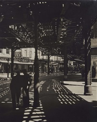 el, second and third avenues line, bowery & division street by berenice abbott