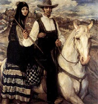 a couple riding on horseback by héctor nava