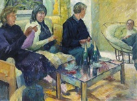 three knitters, study, castelnau-de-guers, france by frederick stonham