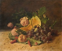 composition aux raisins, melon et aux roses by david emile joseph de noter