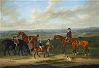 joining the elders; a bay pony led by a groom with a boy in racing silks up, together with four horses and two riders, one up, a racecourse beyond by john nost sartorius