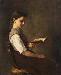 portrait eines sitzenden, lesenden mädchens by german school-southern (19)